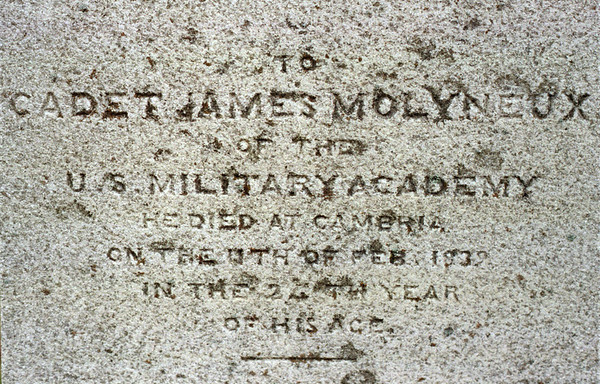 98/03/03  Monument Detail *Dennis Stierer photo - A close up detail of what is said on James Molyneux's monument.