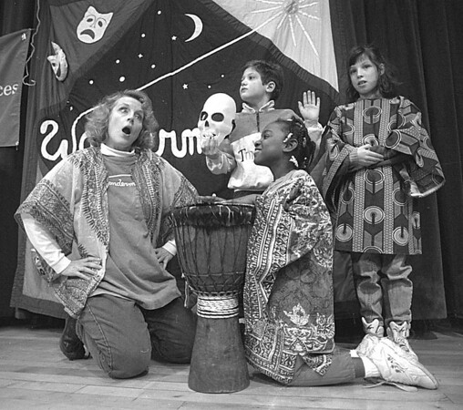 "1/9/97 World of Wonders - James Neiss Photo - L-R are: Susan Slack,Wondermaker, Billy Trusdale 7/2nd , Denise Reed 7/1st and Jessica Zimmerman 9/2nd partake in a skit called ""The Talking Skeleton"" at the Niagara Street School."