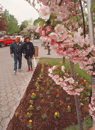 5/29/97 West Mall Flowers - James Neiss Photo - Vince and Heather Valdez of Austin, Texas enjoy the flowers planted along Old Falls street between the Wintergarden and the Falls.