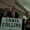 98/05/06--COLLINS CONF.--DAN CAPPELLAZZO PHOTO--FLANKED BY FAMILY AND LOCAL POLITICIANS CHRIS COLLINS, NUTALL GEAR OWNER ANNOUNCES HIS PLAN TO RUN AGAINST LAFALCE.<br /> <br /> 1A