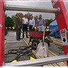 98/10/07 Scout Roof - James Neiss Photo - Iroquois Trail Boy Scout Council Building to get new room. L-R are, Randy Roeseler, VP of Administration, Michael Campbell, Commercial Roofing MGR with Roberts Roofing, Ken Hardy Scout Executive and Jerry Roberts owner of Roberts Roofing.