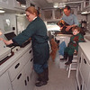 3/11/97 Mobile Vet Clinic - James Neiss Photo - L-R - Companion Animal Mobile Veterinary Clinic - Priscilla Baker, Karl Baker and Grand Son Michael Malaney 2yrs., Buddy the cat and Suki the dog inside the mobile clinic.