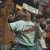 4/12/97-- The Bandits 2--Takaaki Iwabu photo-- Tom Allein, front, and Geoff Koeppel wear the Bandits' Cheese-Head to show thier support for the Saturday's Championship game.