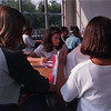 98/09/14 Crowded Class-Rachel Naber Photo-Adrianne Saj works on Math problems in the cafeteria which is doubling as an eighth grade class room due to over crowding at Medina Wise Middle School.