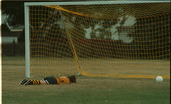 98/09/15 Lkpt vs LaSalle - James Neiss Photo - LaSalle Goalie #1 Vinnita Macri grieves face down after being scored on in the first half against Lockport. Lockport won the game.