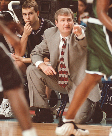 98/03/10 -- Armstrong 2--Takaaki Iwabu photo--- Jack Armstrong, NU basketball coach in action.