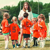 7/27/97--SOCCER 3--DAN CAPPELLAZZO PHOTO--TEAM COLUMBIA COACH ERIN McLEOD GIVES HER CREW A FEW LAST MINUTE POINTERS BEFORE THE GAME AT LASALLE SOCCER LITTLE LEAGUE.<br /> <br /> FEATURE