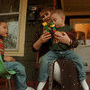 97/11/21-- Theresa Messing--Takaaki Iwabu photo-- Theresa Messing plays with her sons Iric, 4, and Salvatore, 3, at their house. Messing will be a speaker at World's Aids Day.... <br /> <br /> feature, Wednesday, bw  --with promo