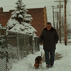 "97/12/11  No Spirit - James Neiss Photo -  Frank Pellegrino of 19th Street, NF., said he lost his christmas spirit in 1991 when his wife died. He is generally happy and loves to walk his dog ""Tippy""."