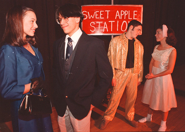 3/11/97-- LaSalle drama 2-- Takaaki Iwabu photo-- From left, Angela Cerrone (as Rosie), Jonathan Trinidad (Albert), Ben Puglisi (Conrad) and Mary Santora (Kim). <br /> <br /> black/white