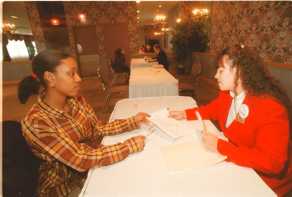 98/03/06 Job Fair - James Neiss Photo - Kaya Jackson 16yrs of Grove Ave. interviews with Natalie Driscoll, Banquet Mgr with Niagara Resorts.
