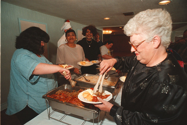 5/14/97 Bus Driver Breakfast - James Neiss Photo - L-R - Annie Getz, aid, Gloria Dykes, aid, Dorothy Palmer aid, and Nancy Simonette, driver enjoy breakfast for NF drivers and  associates.