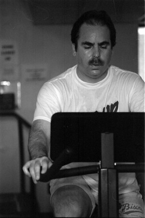 98/05/11 Spring Shape Up-Mike MacDonald works out at the YMCA fitnesss facility in Lockport.