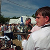 """97/08/04--WAITER RACE/LEWISTON--DAN CAPPELLAZZO PHOTO--JASON ORTMAN, WAITER FROM THE GATHERING PLACE PREPARES FOR THE TASTE OF LEWISTON """"WAITERS RACE"""" AT THE LEWISTON WATERFRONT.<br /> <br /> ECHO/MIRROR"""