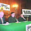 1/9/97 Catholic Charities Goal - James Neiss Photo - L-R - James V. Glynn, 1997 Appeal General Chairman, Bishop Henry J. Mansell and Monsignor Henry J. Gugino, Diocesan director of Catholic Charities, announce the finantial goal for this drive.