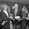 1/16/97--ALLSTATE/MADD $3000--CAPPY PHOTO--(LTOR)CO-COORIDINATORS MARY INCORVIA AND LUANNE ZUCCARI TALK WITH ALLSTATE SR ACCOUNT AGENT VICTOR FRONK JR., OFFICE MNG. KIM JEFFREE AND SR ACCOUNT MNG. JOE CANZONERI, ABOUT THE $3000.00 DONATION TO MADD.<br /> <br /> LOCAL