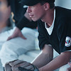 7/29/97--PAL BASEBALL--DAN CAPPELLAZZO PHOTO--NF PAL 2ND BASEMAN VINNIE GIRADO WATCHES FROM THE DUGOUT AS PAL DETRIOT GOES ONE RUN UP AT NU DIAMOND. NF LOST TO DETRIOT.<br /> <br /> SPORTS