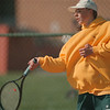 98/04/27--HS Tennis 2--Takaaki Iwabu photo-- Mattias Altmeyer, senior at LaSalle HS returns a ball during Monday's game against Ted Sheehan of Niagara-Wheatfield.  Altmeyer is a exchange student from Germany. <br /> <br /> sports, Tuesday, bw