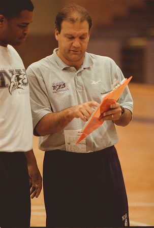 98/11/10 Joe Mihalich - Vino Wong Photo - Coach Joe Mihalich of Niagara University prepares for a practice session for the men's basketball team at Gallagher Center Tuesday.