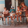7/10/97 Drama & Drumming - James Neiss Photo - Karen Geiben, actress and percussionist, teaches a workshop on Drama & Drumming at the Kiwanis Park playground in Lewiston.