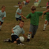 98/08/06 De Dee Soccer - James Neiss Photo - ÓFor the Fun of it!Ó - L-R Center, 6yr old Jacques LeSveque of Team Argentena went down to redirect the ball being handled by Joe Seger 6yrs of Team Brazil. The De DeeÕs Dairy Soccer League, sponsored by the Niagara Police Athletic League, were playing  at LaSalle High School.