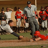 98/06/01--SECTIONAL BASEBALL--DAN CAPPELLAZZO PHOTO--THE NF BENCH WAITS FOR THE CALL AS SWEET HOME CATCHER BRENDAN BRADY TAGS OUT NF'S TOM KRESMAN AT HOME IN THE 6TH INNING ON A SACRAFICE FLY.<br /> <br /> SP
