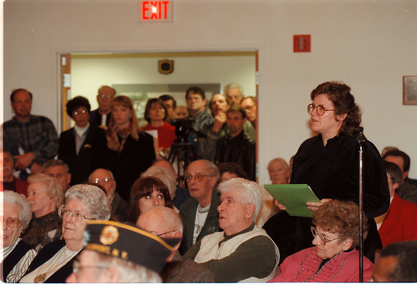 98/03/04 Fort Niagara Meeting - James Neiss Photo - Robbie Krizan of Wilson, NY speaks her mind during a meeting at the Porter town hall on the proposed changes to Fort Niagara State Park.  There was an over flow crowd at the meeting.