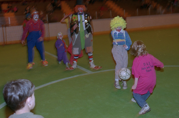 98/02/06 Winterfest 7  *Dennis Stierer photo - Lockport Exchange Club Circus Clowns played the Kenan Center Mighty Mites a game of soccer during Winterfest.