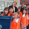 "4/23/97-- recycling --Takaaki Iwabu photo-- Marilyn Lojek, principal of Niagara Street School, and Mike Loree, recycling director at Modern Disposal, pose with ""Recycling Rescue Rangers"" at Niagara Street School. Loree handed $300 donation from Modern Disposal to the School, where students start Earth Day recycling program. <br /> <br /> grapevine photo"