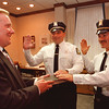 97/09/25--NEW POLICE LT--DAN CAPPELLAZZO PHOTO--MAYOR GALLIE SWARES IN NEW NF POLICE TL.'S THOMAS PRUCNAL (LEFT,  CENTER) AND JOSEPH MORRISON IN THE MAYORS OFFICE.<br /> <br /> GR