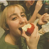 98/02/02 Apple A Day - James Neiss Photo - Rebecca Scarano 16yrs/11th grade at Lew Port HS. enjoys an apple at lunch.<br /> <br /> Feature on Special Need students......