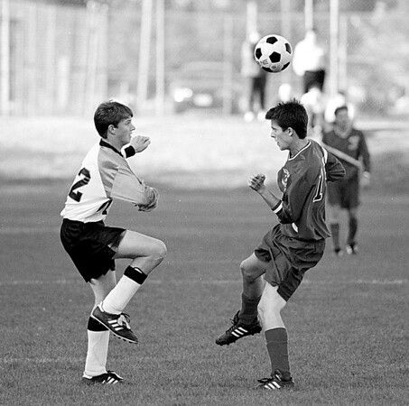 98/10/06 Boys Soccer #1 *Dennis Stierer Photo - B/W<br /> Lyndonville's #22, Andy Boyce seems to be dancing with Medina's #19, Mike Hungerford during Tuesday afternoon match up in Lyndonville.