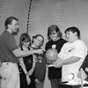 1/31/97--LASALLE MIDDLE/PLANET--DAN CAPPELLAZZO PHOTO--MOBLIE DOME PLANETARIUM DIRECTOR PAUL J. KRUPINSKI SHOWS LASALLE 7TH GRADERS;  (LTOR) JULIANNE PAYNE, KRISTINA JOHNSON, KATRINA SIMPSON AND MATT LaPRESS POINTS ON THE GLOBE INSIDE THE MOBILE PLANETARIUM. THE STUDENTS ARE FROM  MRS. PAT ORZETTI'S SOCIAL STUDIES CLASS.<br /> <br /> LOCAL