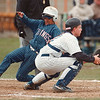 5/20/97-- GI vs Lokpt--Takaaki Iwabu photo-- Grand Island Tom Makowski beats the throw at homebase. Lockport catcher is Tony Woods.
