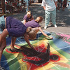 8/9/97-- Chalk Walk--Takaaki Iwabu photo-- Students from Nardin Academy work on their mural as they and other area's students participated in Chalk Walk competition at Lewiston Fine Art Festival. The Festival will rap up today (Sunday).