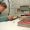 98/09/09 Regents Require-Rachel Naber Photo-Kelley Seekins (left) and Mary Lauren DiMillo 6th graders at Emmett Belknap Middle School will required to take Regents courses.