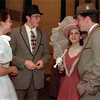 """98/04/20-- rehearsal 1--Takaaki Iwabu photo-- Students prepare for the rehearsal of the play """"Hello Dolly"""" at Albion Middle School Monday. The play starts 23rd. From left, Valerie Basinait, Matt Pettit, Theresa Warne and Jeremy Smalley. <br /> <br /> Albion, color"""