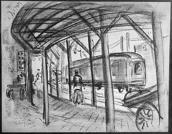1/21/97 Polly King 3 - James Neiss Photo - Drawing of old NF train station.