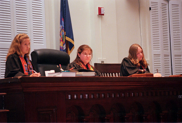 98/11/05 Peer Court-Rachel Naber Photo-Christina Alkins (left), Rachael Tuohey, and Katie Davy participate in a mock trial of peer court in Albion.