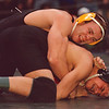 2/1/97-- Invitational 2-- Takaaki Iwabu photo-- LaSalle HS Dan Bartels scores 2-points taking a back of Eric Incitto of Fredonia HS. <br /> <br /> sports, Sunday bw