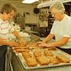 97/09/27 fruit cake--Takaaki Iwabu photo-- Loraine Moeller and Clarice Poerschke, co-chairman of St. John Lutheran Church's Octoberfest, prepare fruit cake at the Church Saturday. <br /> <br /> tmc photo