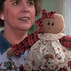 98/05/04 ladies Aux-Rachel Naber Photo-Carol Gent, President of the Gasport Chemical  Ladies Hose Auxilary with one of the many crafts available at thier chinese auction.