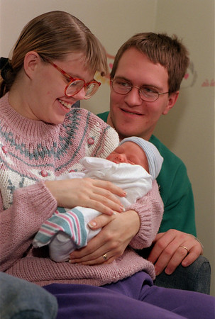 99/1/2 Medina New Eve Baby-Rachel Naber photo-James (middle) son of Cindy and Paul Munn  was born at Medina Memorial Hospital at 1:40 a.m. on New Years Day. The Munn's named the bay after Paul's grandfather. The Munn's are residents of Albion.