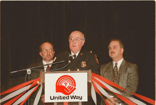 "98/02/26 United Way Awards - James Neiss Photo - Fire Captain Simon Zambotti, Center,  of the NFFD received the ""Laborer's Community Service Award"" at the United Way awards banquet.<br /> At Left is Sam Williams, president Niagara/Orleans Labor Councel AFLCIO and at right is Rick Horn, president of the NF Fire Fighters Association Local #714."