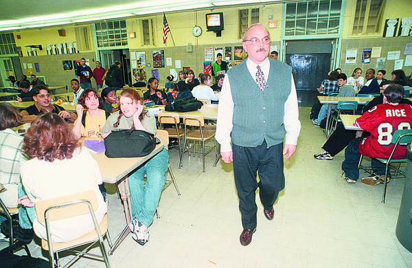 1/21/97 School Reportcard - James Neiss Photo - NFHS Principal Russell Murgia walks the Lunch Room.