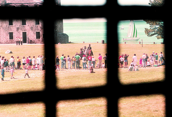 7/20/97--FT NIAGARA 2--DAN CAPPELLAZZO PHOTO--A VIEW FROM THE WINDOW OF THE SOUTH REDOUBT (BUILT IN 1770 TO PROTECT MAIN GATE) SHOWS FORT GOERS DURING THE WAR OF 1812 CAVALRY DEMONSTRATION.<br /> <br /> LOCAL