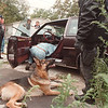 "97/10/01--Drug Raid--Takaaki Iwabu photo--Niagara Falls police officers search the drug after police dog ""Shanko"" indicated the presence of it inside a vehicle Wednesday morning. <br /> <br /> local, Thursday, bw"