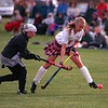 98/11/04 Girls WIN *Dennis Stierer Photo - COLOR<br /> Wilson's #2, Amber Maacks works on trying to steal the ball from Medina's #11, Rebecca Paron, however, Medina goes on to win the match in the final minutes, 2-1.