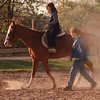 97/10/19--JORDAN FARM--DAN CAPPELLAZZO PHOTO--JORDAN STABLE, RANSMVILLE, STABLE HAND  KATHERINE WILSON LEADS 10 YR-OLD AMANDA CLARK, 10, RANSM., ON TIMMY A 17-YR-OLD 1/4 HORSE AT THE OPEN HOUSE.<br /> <br /> ECHO