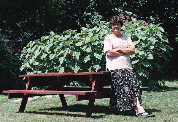7/27/97--EPA TEACHER--DAN CAPPELLAZZO PHOTO--VIVIAN POKRZYK, A TEACHER AT LEWPORT WHO ATTENDED AN EPA CONFERENCE ON ENVIRO AWARNESS, SITS IN HER YARD IN FRONT OF A LARGE SUNFLOWER PATCH.<br /> <br /> LOCAL